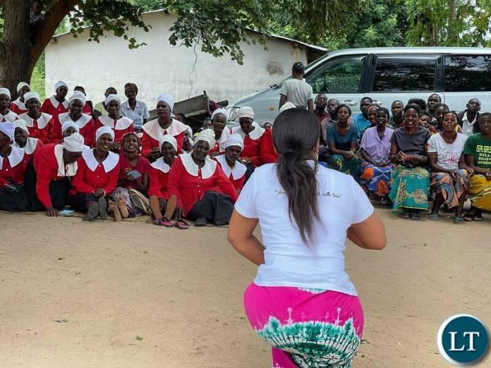 Iris Kaingu at the UCZ Mwandi  and  Sesheke Re-dedication Ceremony at Lipumpu  in Mwandi District.