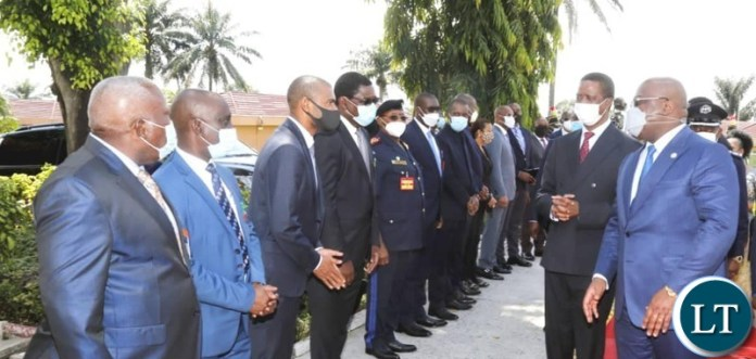 President Edgar Lungu  introduces his delegation to  Democratic Republic of Congo (DRC) President Felix Tshisekedi
