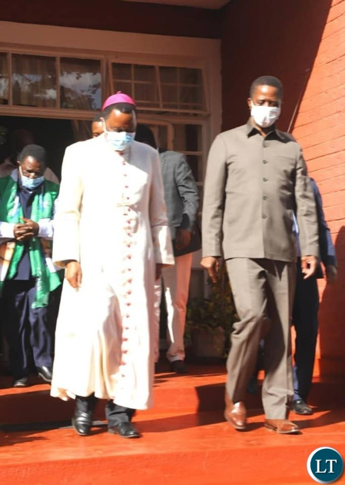President Edgar Lungu  paid a  40 minutes courtesy call on the Bishop of the Catholic Diocese of Chipata George Lungu, who rejected Empowerments Funds, at St. Anne's Cathedral in Chipata