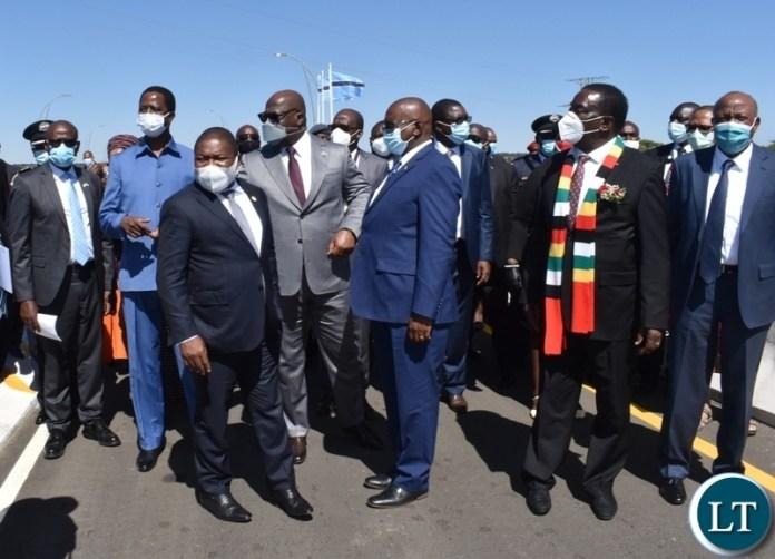 Heads of states touring the Kazungula bridge shortly before official opening