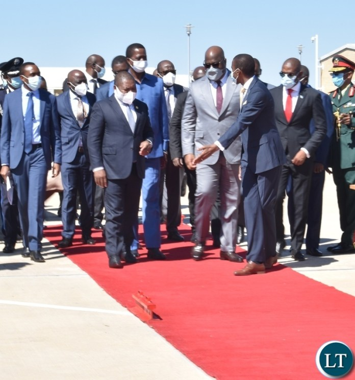 Mozambican President Filipe Nyusi President Edgar Lungu and DRC President Felix Tshisekedi arriving at the opening of Kazungula bridge in Kasane