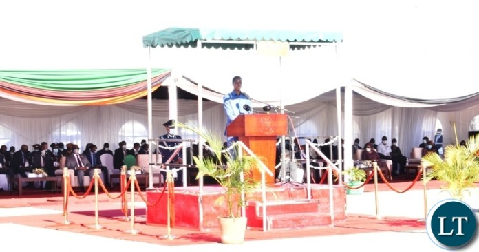 President Edgar Lungu delivering his speech during the official opening of the Kazungula Bridge