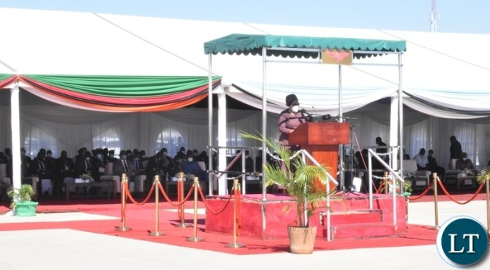 SADC Executive Secretary Dr Stergomena Lawerence Tax delivering her speech during the official opening of Kazungula bridge