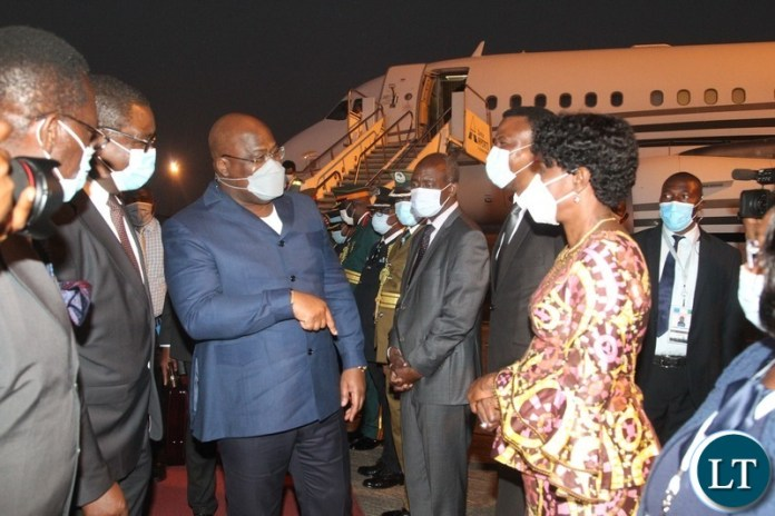President of the Democratic of Republic of Congo,Felix Tshisekedi arrives at Harry Mwaanga Nkumbula International Airport.
