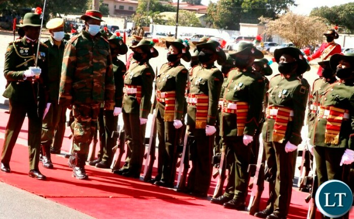 President Edgar Lungu inspects a guard of honour mounted by the Zambia Army during the commemoration of defence day in Lusaka. Picture by SUNDAY BWALYA /ZANIS