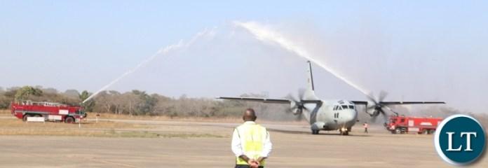 The Zambia Air Force (ZAF)  plane carrying the remains of the late first Zambian President Dr Kenneth Kaunda arrive at Simon Mwansa Kampwepwe international airport yesterday. Monday, June 28, 2021. Picture by ROYD SIBAJENE/ ZANIS