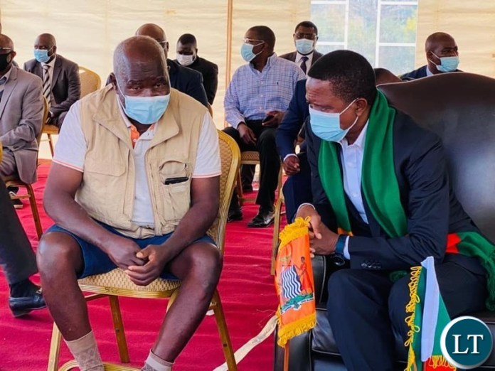President Lungu with Panji Kaunda, the first son of the late President Dr Kenneth Kaunda
