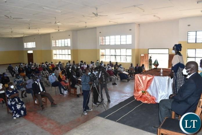 Vice President Inonge Wina addressing Civil servants at Nangweshi Secondary School in Sioma District