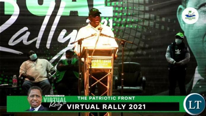 PF SG at the PF Virtual Rally, while Chishimba Kambwili looks on