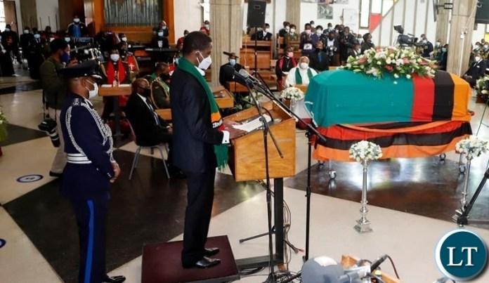 President Lungu at the Church Service of the Late President Dr Kenneth Kaunda