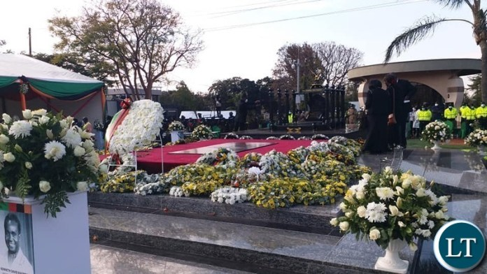 The laying of wreaths at the resting place of the late President Kenneth Kaunda