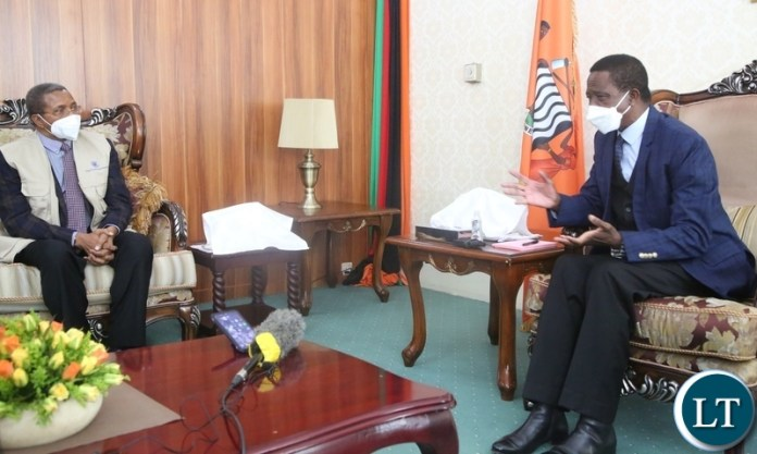 PRESIDENT Edgar Lungu confers with Commonwealth Delegation Leader,Jakaya Kikwete when he paid a courtesy call on him at State House t