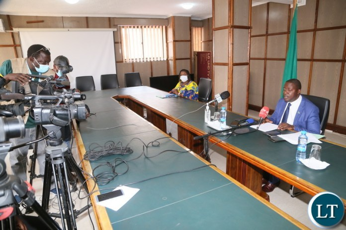 Minister of foreign Affairs Stanley Kakubo speaking during press briefing at his office.
