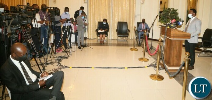 Special Assistant to the President for Press and Public Relations Anthony Bwalya speaking to journalists during the press briefing at State House