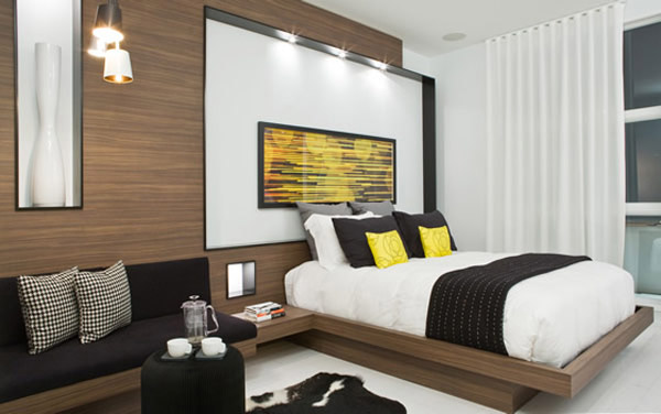 Black White And Yellow Color Combination For Contemporary Apartment Decorating