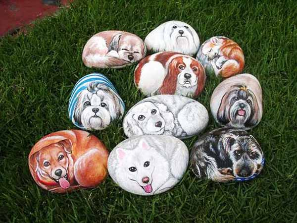 Painted Rocks for Artistic Yard and Garden Designs, 40 ... on Rock Decorating Ideas  id=33559