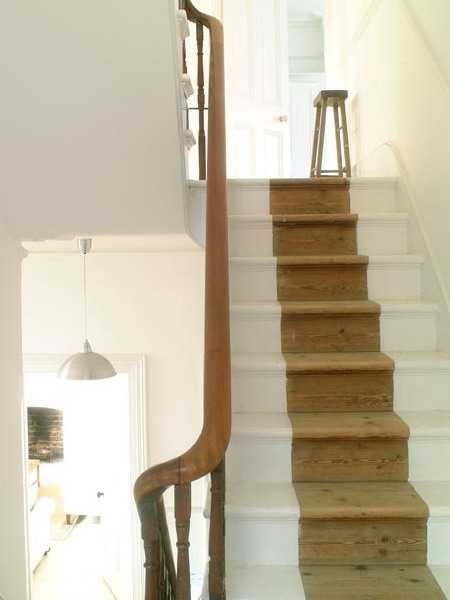 Wooden Stairs With Painted Stripes Updating Interior Design In | Wood And Painted Stairs | Diy | Before And After | Striped | Refinish | Oak