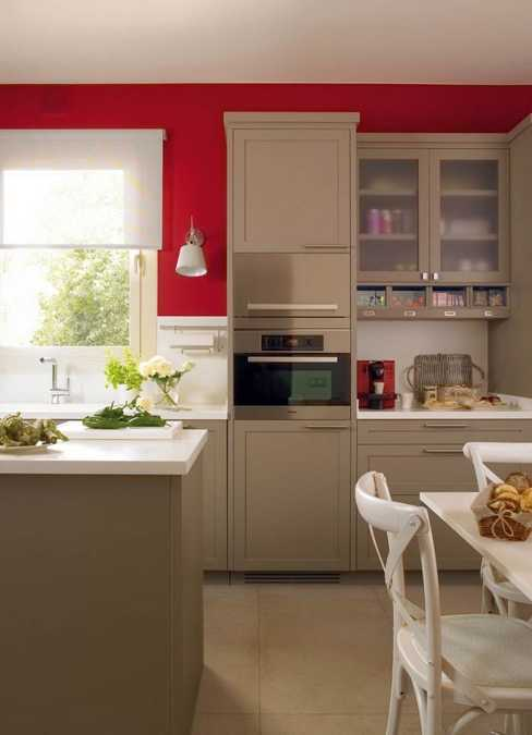 Modern Kitchen Design With Bold Red Accent Walls And