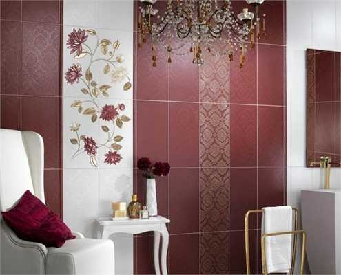 Modern Wall Tiles In Red Colors Creating Stunning Bathroom Design