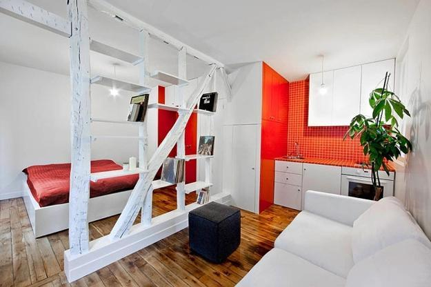 Decorating Small Apartments With Red Accents And White Paint Colors