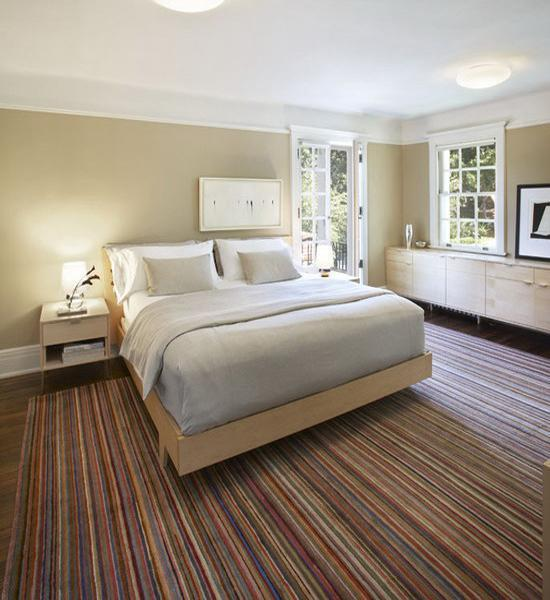Modern Interior Design With Colorful Striped Rugs And Carpets