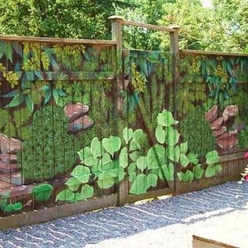 Colorful Painting Ideas for Fences Adding Bright ... on Backyard Wooden Fence Decorating Ideas id=30528