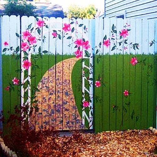 Colorful Painting Ideas for Fences Adding Bright ... on Backyard Wooden Fence Decorating Ideas id=63295