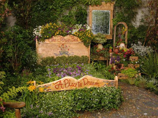 Recycling Old Wood Beds for Yard Landscaping and ... on Wooded Backyard Ideas id=34600