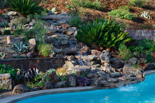 20 Spectacular Backyard Ideas, Waterfalls that Top Off ... on Backyard Hill Landscaping Ideas  id=51140