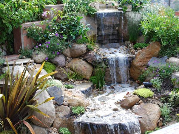 22 Beautiful Waterfalls for Natural Backyard and Front ... on Front Yard Waterfall Ideas id=97041