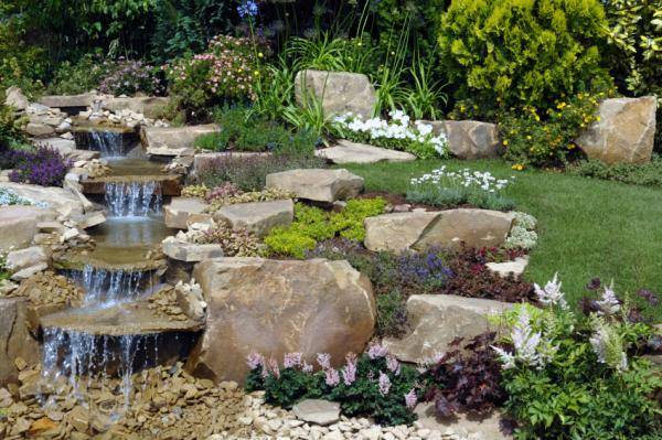 22 Beautiful Waterfalls for Natural Backyard and Front ... on Front Yard Waterfall Ideas id=50809
