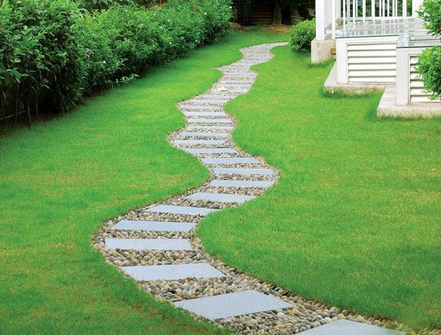 25 Yard Landscaping Ideas, Curvy Garden Path Designs to ... on Backyard Walkway Ideas id=44236