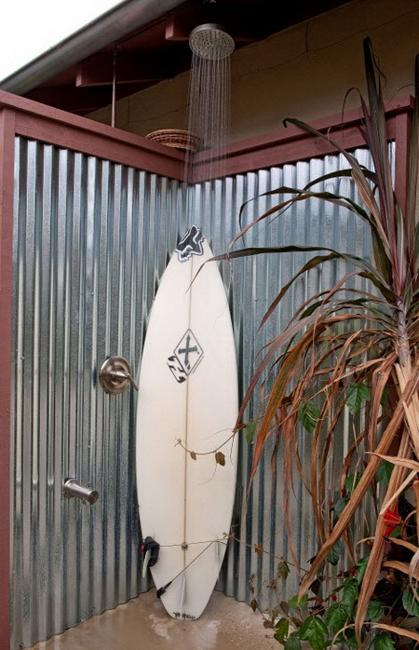 wooden and metal outdoor shower enclosures