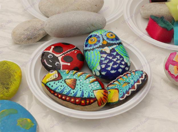 21 Rockpainting Ideas to Create Bright Accents for Garden ... on Rock Decorating Ideas  id=87433