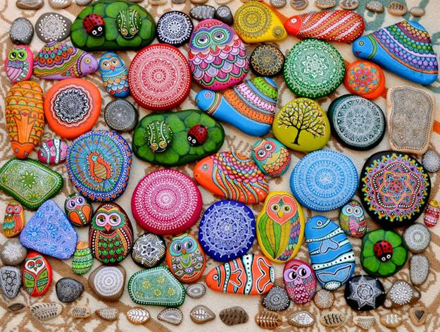 21 Rockpainting Ideas to Create Bright Accents for Garden ... on Rock Decorating Ideas  id=32664