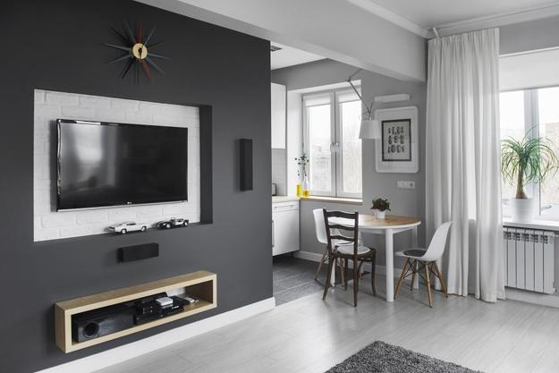 Contemporary Kitchen Design In Gray And White Neutral Colors For Small Apartment Decorating