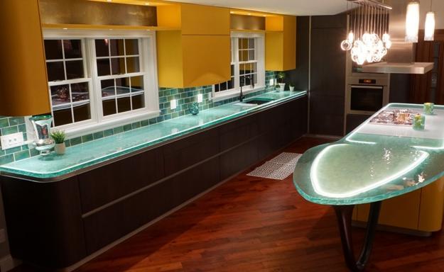 Modern Glass Kitchen Countertop Ideas, Latest Trends in ... on Kitchen Counter Decor Modern  id=86093