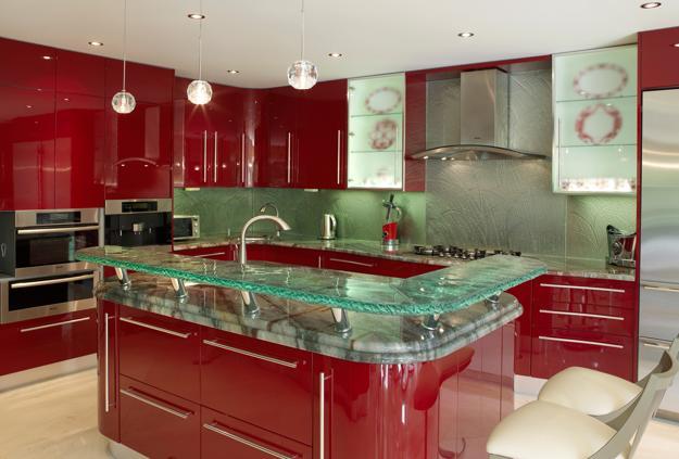 Modern Glass Kitchen Countertop Ideas, Latest Trends in ... on Kitchen Counter Decor Modern  id=81868