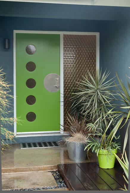 Modern Door Designs With Geometric Glass Panel Inserts In Mid Century Style