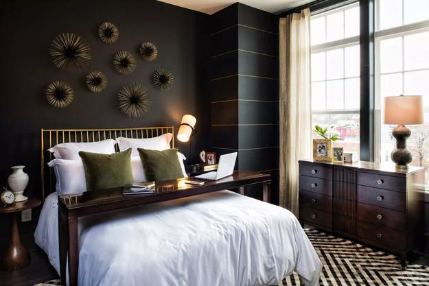 Bedroom Decorating with Black Wallpaper, 2 Modern Wall ... on Bedroom Wall Decor  id=78166