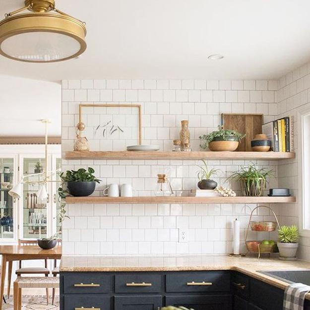 Beautiful Wooden Shelves in Modern Kitchens, Simplified ... on Rustic:fkvt0Ptafus= Farmhouse Kitchen Ideas  id=23637