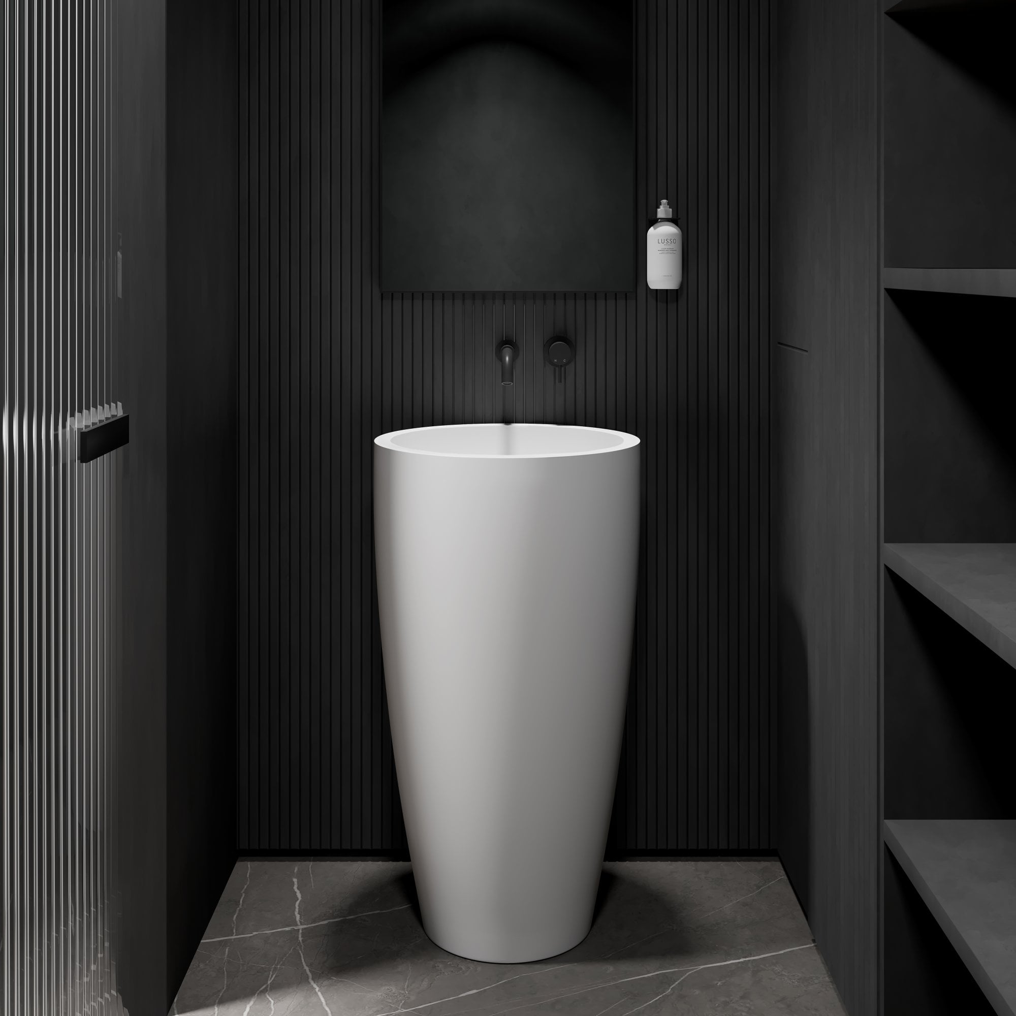 lusso annelie stone resin freestanding cylinder basin 500