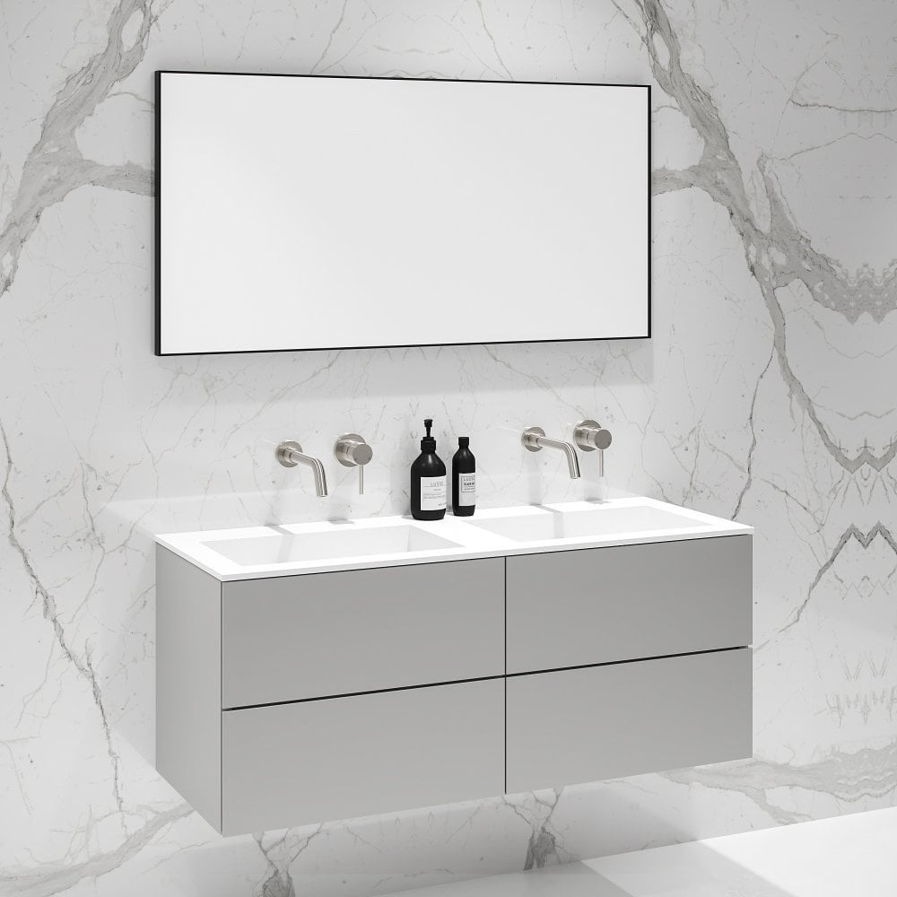 Grey Double Vanity Unit Wall Mounted Grey Vanity Unit