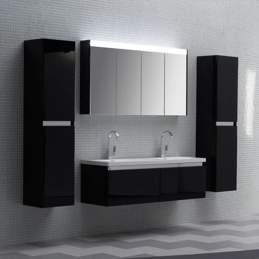 Lusso Stone Noire Double Designer Bathroom Wall Mounted ...