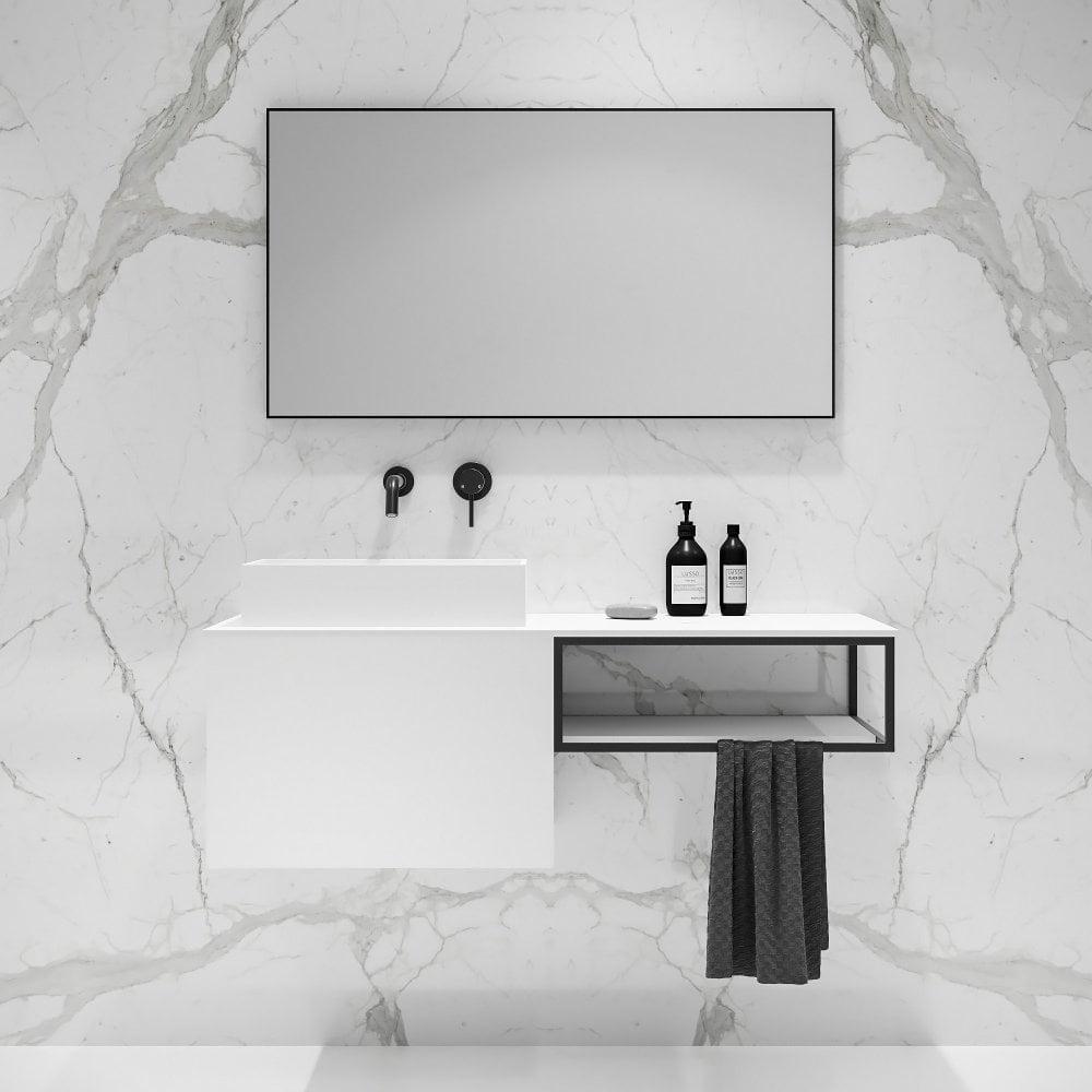 1200mm White And Black Framed Vanity Luxurious Bathroom Vanity Units