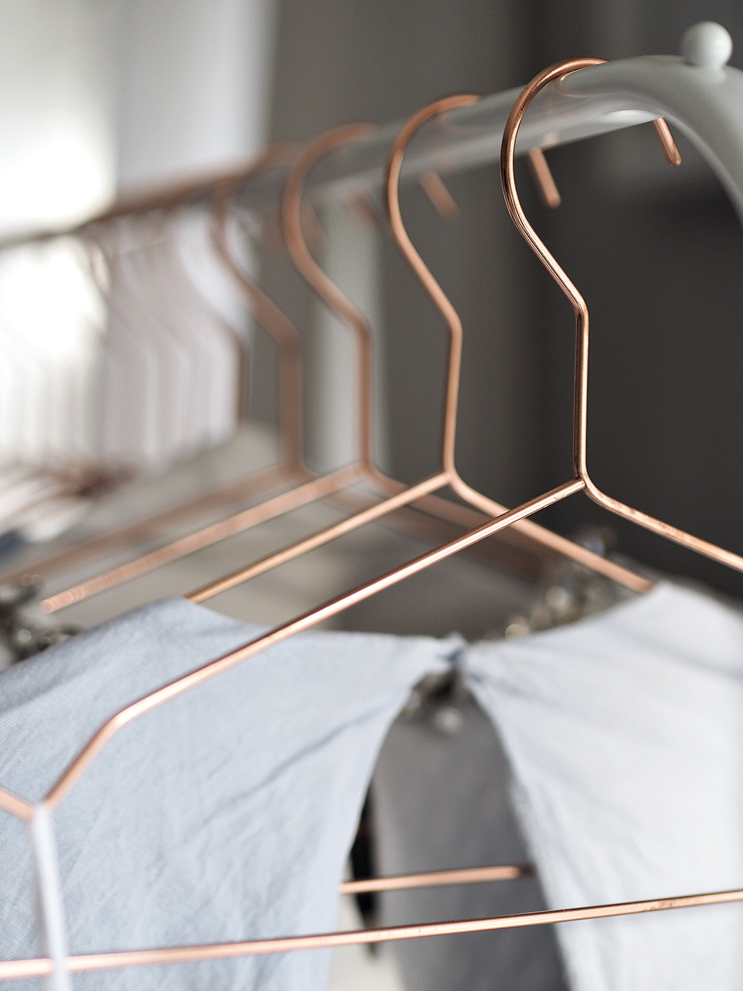 clothes rack copper hangers