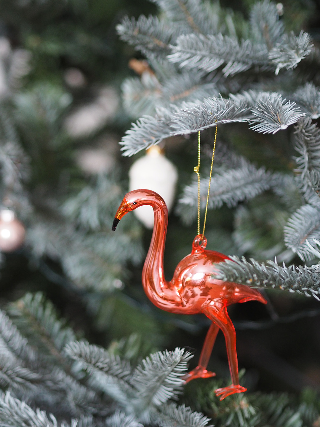 Glass Flamingo Christmas Tree Decoration