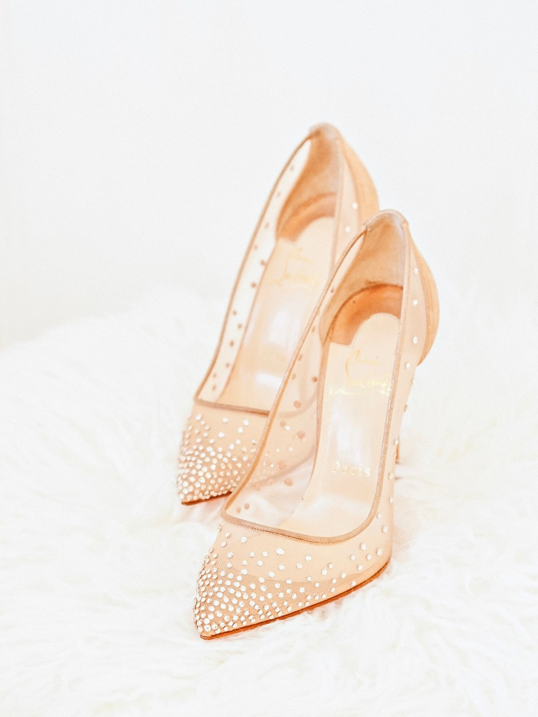 Christian Louboutin Follies Strass Rete/Suede Lame 100 mm Bridal Wedding Shoes