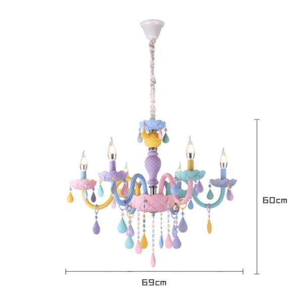 Lustre pastel princesse mesure 6 lampes