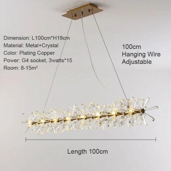 Lustre barre de cristal dorée LED